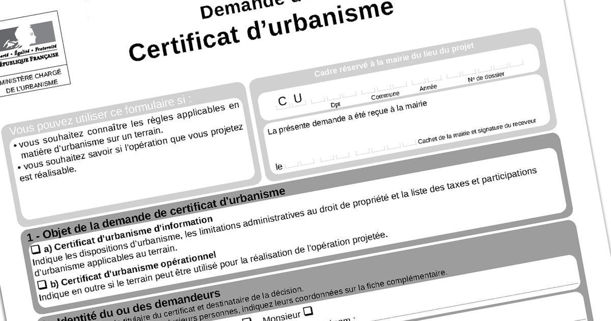 En-tête du formulaire de demande de certificat d'urbanisme.