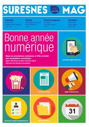 Couverture du Suresnes magazine de janvier 2019.