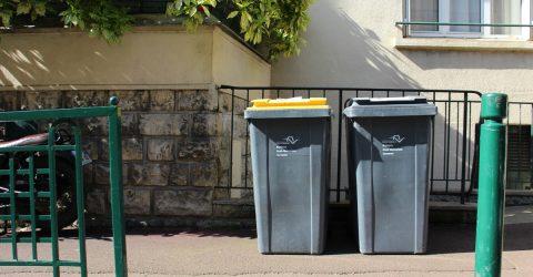 Vue de deux bacs de déchets sur le trottoir.