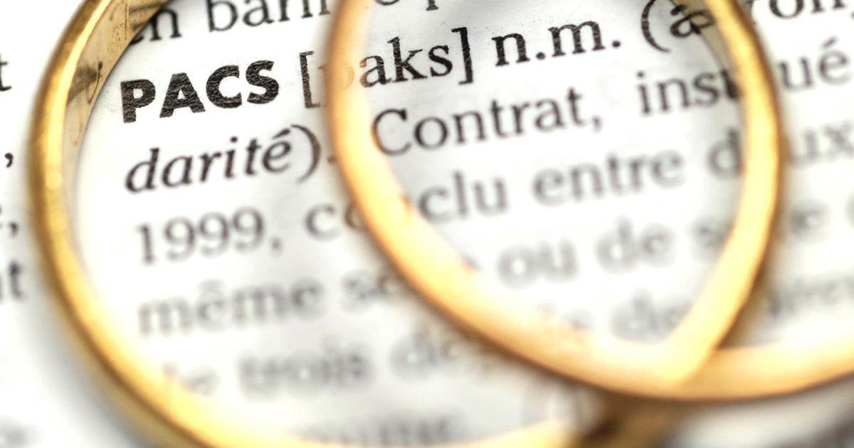 Paire d'alliances posée sur un dictionnaire ouvert à la définition du Pacte civil de solidarité