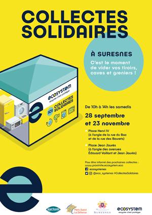 Affiche des collectes solidaires.