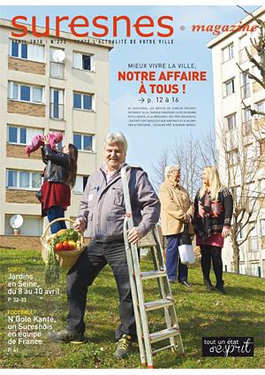 Couverture du Suresnes magazine d'avril 2016.