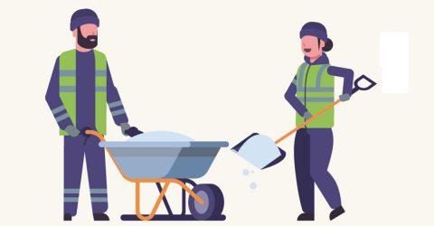 Agents distribuant du sel