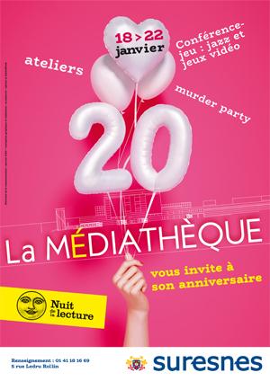 Affiche des 20 ans de la Médiathèque